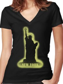 New York Vintage T-Shirt Women's Fitted V-Neck T-Shirt