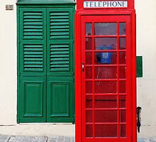 Red Telephone Box, Green Door, Malta by Jane McDougall