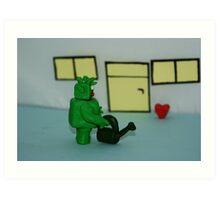 GREEN MAN WIT HEART Art Print