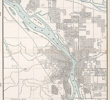 Vintage Map of Portland Oregon (1901) by BravuraMedia