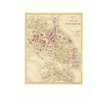 Vintage Map of Portsmouth NH (1892) Art Print