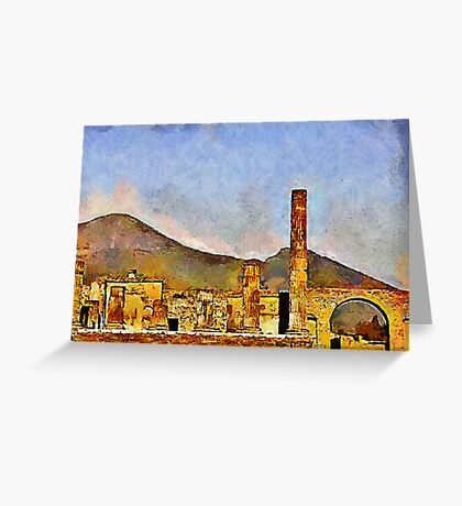 Ruins of Pompeii & Vesuvius, Italy Greeting Card