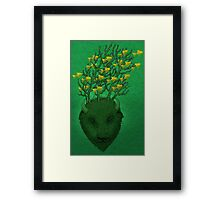 Sea Buffalo Dreaming Green Heart  Framed Print
