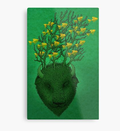 Sea Buffalo Dreaming Green Heart  Metal Print
