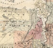Vintage Map of The Puget Sound (1891) Sticker