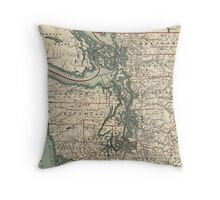 Vintage Map of The Puget Sound (1910) Throw Pillow