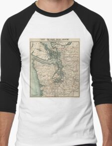 Vintage Map of The Puget Sound (1910) Men's Baseball ¾ T-Shirt