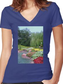 Lovely Garden with a Pond in Orlando Florida Women's Fitted V-Neck T-Shirt