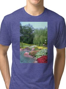 Lovely Garden with a Pond in Orlando Florida Tri-blend T-Shirt