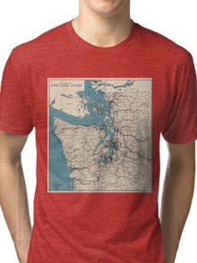 Vintage Map of The Puget Sound (1919) Tri-blend T-Shirt