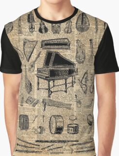 Vintage Classical Music Instruments Dictionary Art Graphic T-Shirt