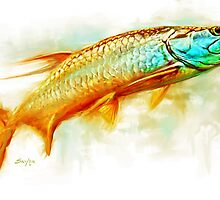 Huntint Tarpon- Tarpon Fly Fishing Painting by Mike Savlen