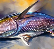 Where's My Wasabi - Yellowfin Tuna Painting by Mike Savlen