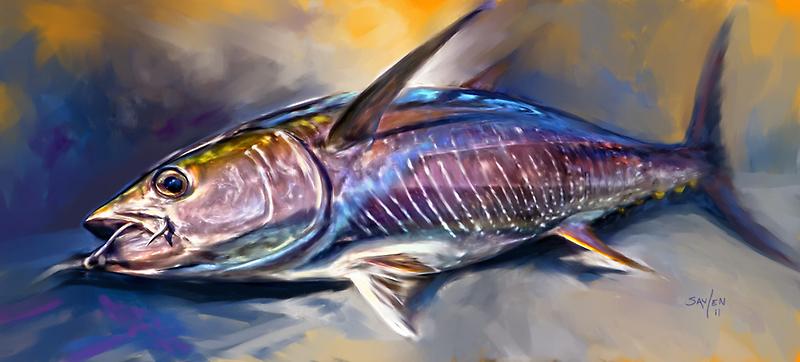 Where's My Wasabi - Yellowfin Tuna Painting by Mike Savlen