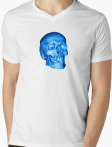 Blue Skull Mens V-Neck T-Shirt