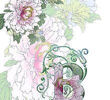 19th C Peonies, Monogram B by VintageEraArt
