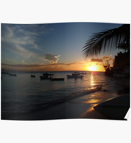 Barbados sunset1 Poster