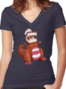 Ice Cream Dinosaur Women's Fitted V-Neck T-Shirt