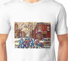 HOCKEY PAINTINGS OF POINTE ST.CHARLES MONTREAL CITY WINTER SCENES Unisex T-Shirt