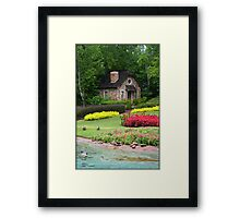 English Style Cottage With Pond In Orlando Florida Framed Print