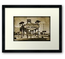 Welcome To Las Vegas Sign Series 2 of 6 Sepia Grunge Framed Print