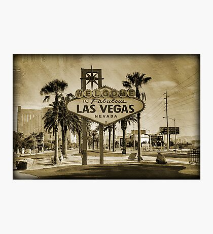 Welcome To Las Vegas Sign Series 2 of 6 Sepia Grunge Photographic Print