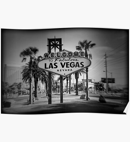 Welcome To Las Vegas Sign Series 3 of 6 Holga Black and White Poster
