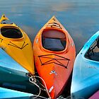 Colorful Kayaks - Panorama by Debra Fedchin