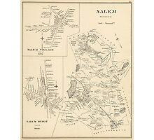 Vintage Map of Salem Massachusetts (1892) Photographic Print