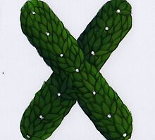 "Topiary Alphabet ""x "" Coloured by Donna Huntriss"