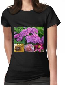 Hydrangea Collage with Cape Daisy, Rose and Tulip Womens Fitted T-Shirt