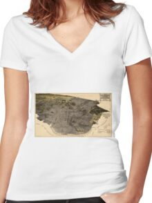 Vintage Pictorial Map of San Francisco (1915) Women's Fitted V-Neck T-Shirt