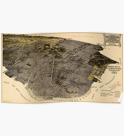 Vintage Pictorial Map of San Francisco (1915) Poster