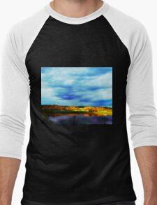 Ohio River Serenity ~ Morning Coffee On The Deck Men's Baseball ¾ T-Shirt