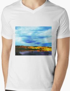 Ohio River Serenity ~ Morning Coffee On The Deck Mens V-Neck T-Shirt