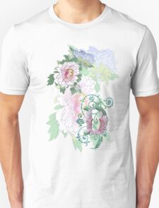 19th C. Peonies, Monogram D Unisex T-Shirt
