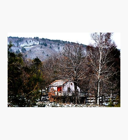 Red door in the snowy wood. In Sicily. Photographic Print
