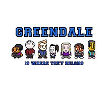 8-bit Greendale is Where They Belong (College Text) Photographic Print