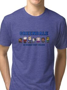 8-bit Greendale is Where They Belong (College Text) Tri-blend T-Shirt