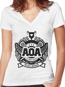 AOA Black Women's Fitted V-Neck T-Shirt