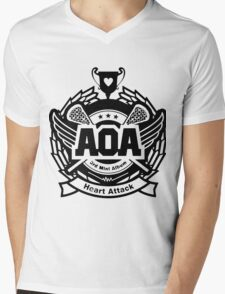 AOA Black Mens V-Neck T-Shirt
