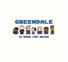 8-bit Greendale is Where They Belong (Video Game Text) Art Print