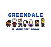 8-bit Greendale is Where They Belong (Video Game Text) Photographic Print