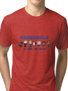 8-bit Greendale is Where They Belong (Video Game Text) Tri-blend T-Shirt