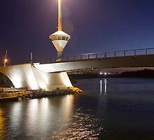 Drawbridge famous night in La Manga, Spain by james633