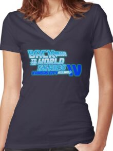 Back To The World Series!! Women's Fitted V-Neck T-Shirt