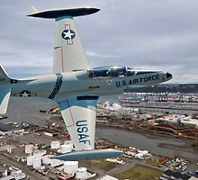 T-33 Over Tacoma  by Bryan Peterson