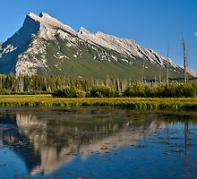 Mt Rundle seen from Vermilion Lake by Peter Luxem