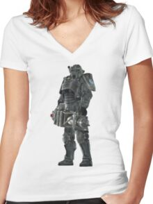 Pixel Brother of Steel Paladin Women's Fitted V-Neck T-Shirt