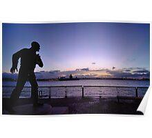 Johnnie Walker Statue, Liverpool Poster